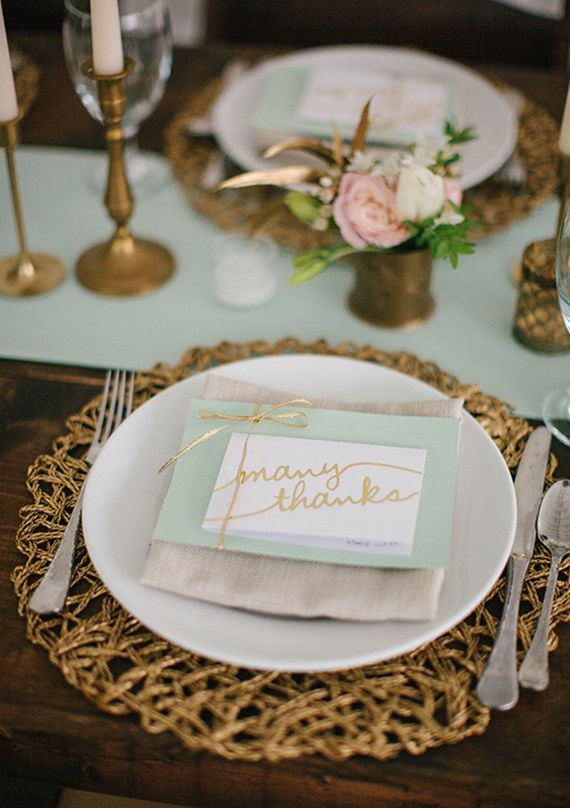 Mint and pink with pretty gold accents