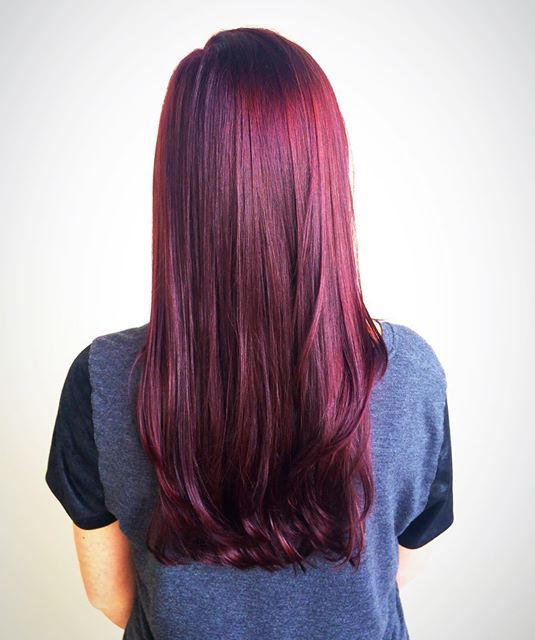 Beautiful rich violet red hair color! Get the look with Aveda color!