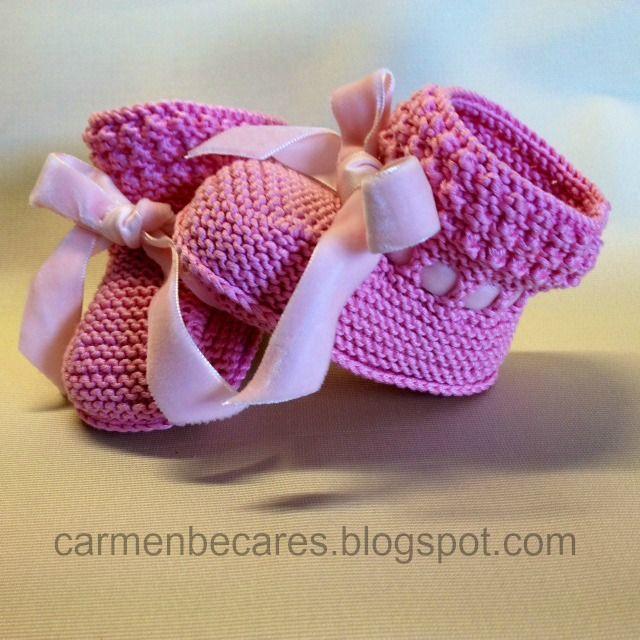 patucos de lana para bebe tejido dos agujas carmenbecaresblogspot