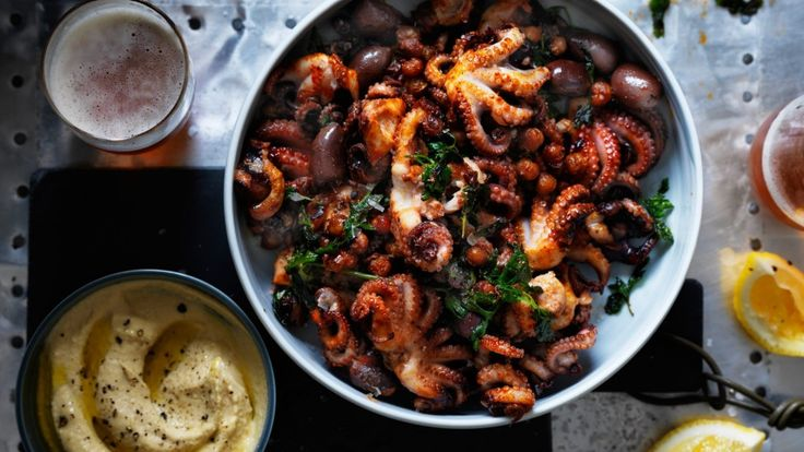 Baby octopus with hummus, fried chickpeas and olives