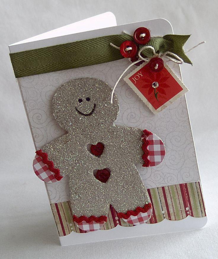 card cookie cake sizzix Gingerbread man christmas Card happy holidays - kort jul julekort kagemænd honningkage mand honning kage mænd