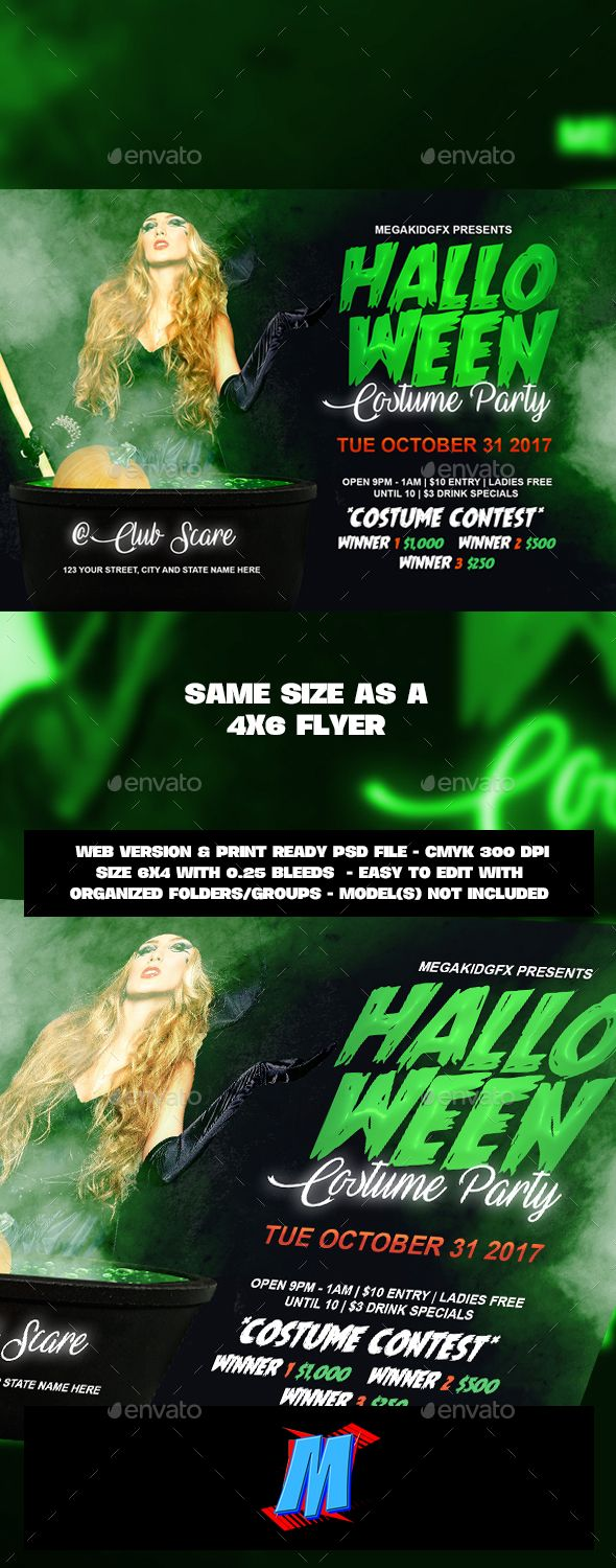 Costume #Party #Flyer Template - Clubs & Parties Events