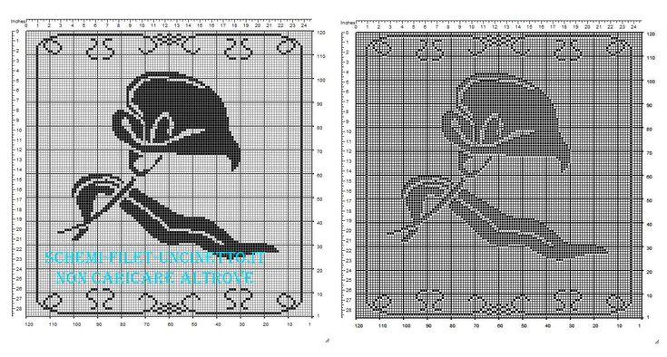 Schema centrino filet quadrato con fiore calla dimensioni 120 quadretti