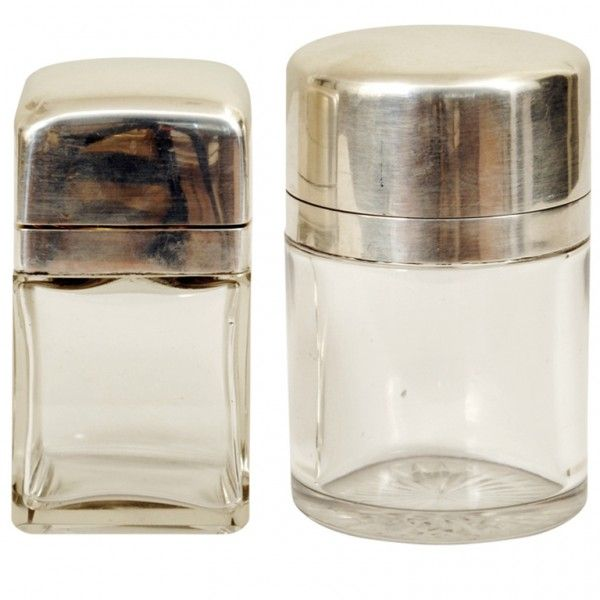Pair of Glass and Sterling Silver Vanity Receptacles / robuck.co
