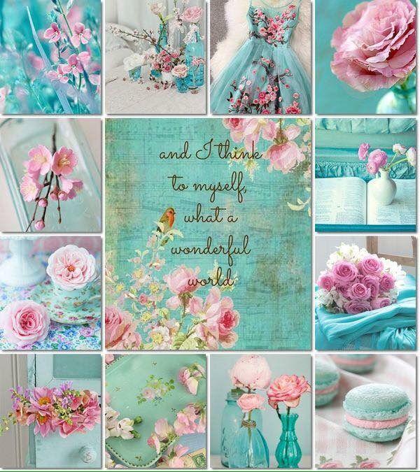 Pink & aqua mood/color collage