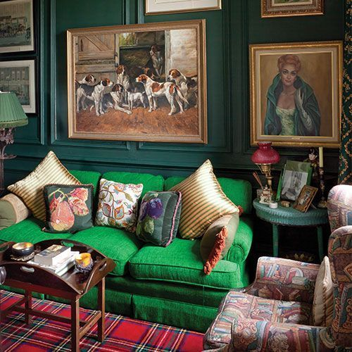Room Of The Day Vibrant Green Sofa Plaid Carpet Print Chair And Interesting Art
