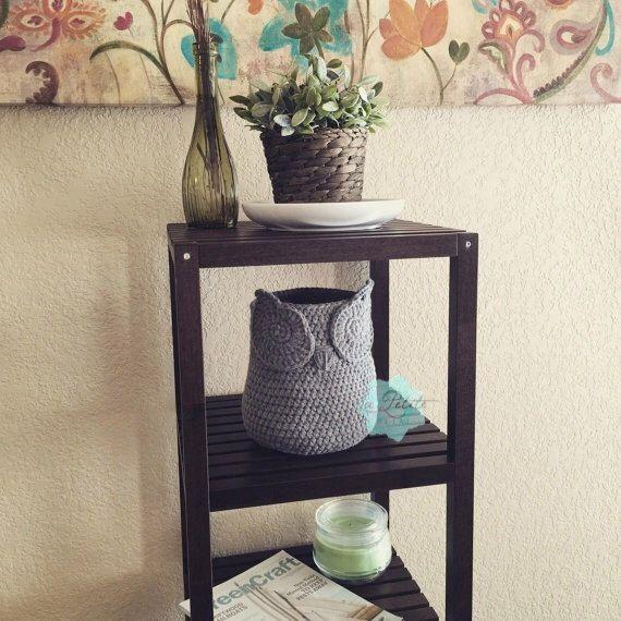 Medium Chic handmade crochet Owl Basket, Home Decor storage Basket, crochet Owl basket, Owl nursery decor, Crochet storage, Owl decor, by LaPetitePetal on Etsy https://www.etsy.com/listing/222658474/medium-chic-handmade-crochet-owl-basket