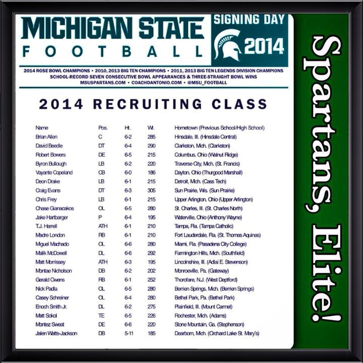 Michigan State Football Bowlin Group We want to welcome the @MSU_Football Recruiting #ClassOf2014 to #BeastLansing! These #SpartansAreElite! The future is in great hands! Unlike