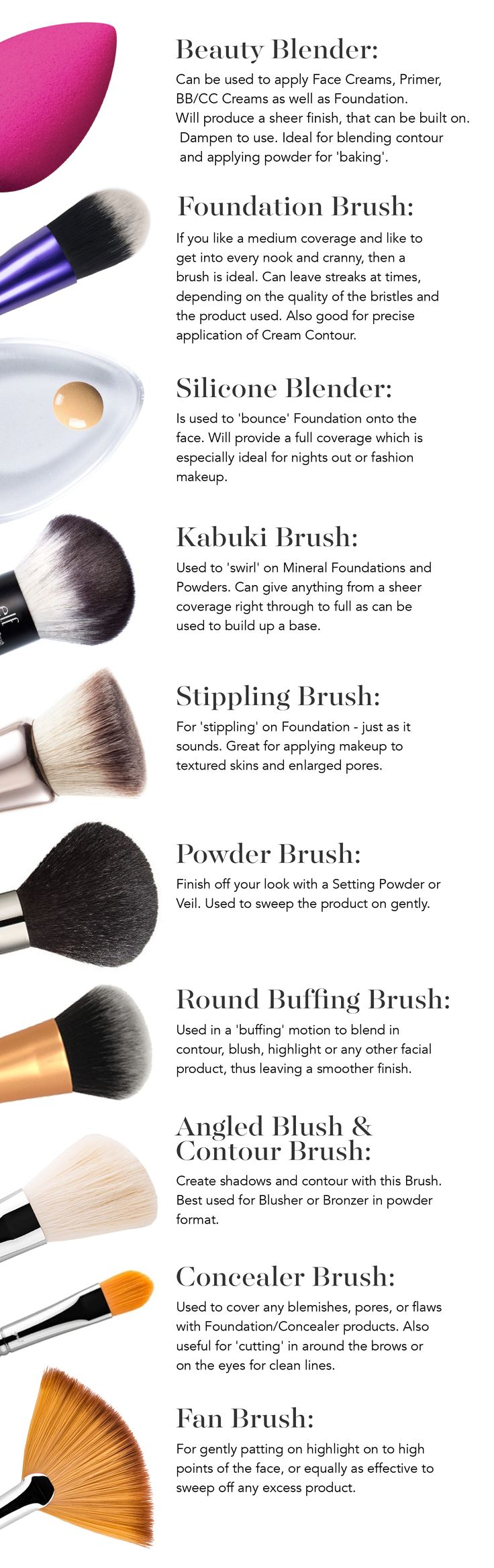 Look your best by using the right tools with our guide to Makeup Brushes and How To Use Them!