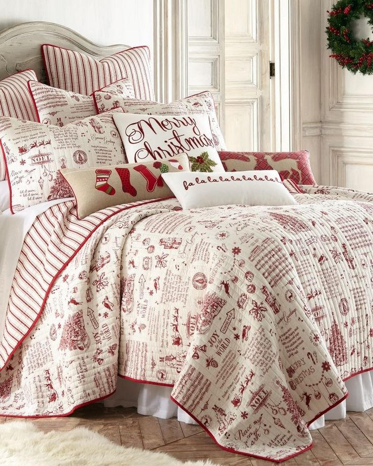 NWT Holiday Red & Ivory Christmas Words Toile Reversible FULL ... : christmas quilt set queen - Adamdwight.com