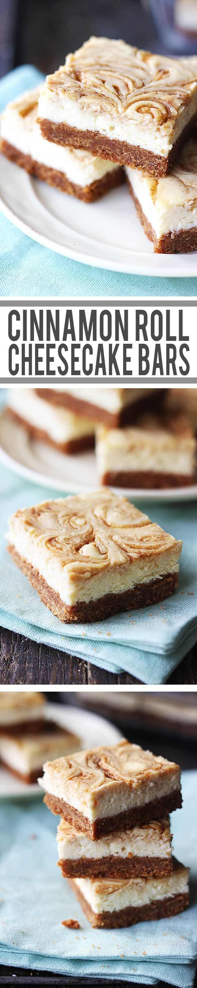 Cinnamon Roll Cheesecake Bars -   New York-style cheesecake bars with a  thick graham cracker crust and cinnamon swirl!