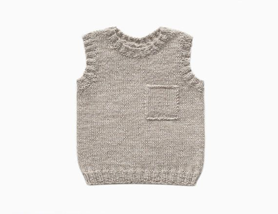 Alpaca Baby Vest With Pocket  Sand by ommukids on Etsy