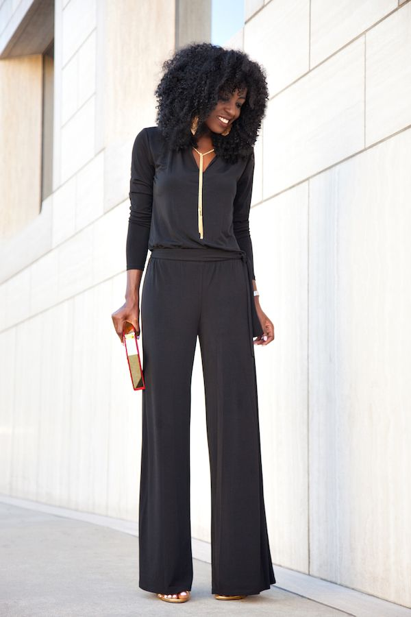 Curvy Outfit Ideas | Petite Outfit Ideas | Plus Size Fashion | Summer Fashion | OOTD | Professional Casual Chic Fashion and Style Inspiration | Black Wide Leg Jumpsuit