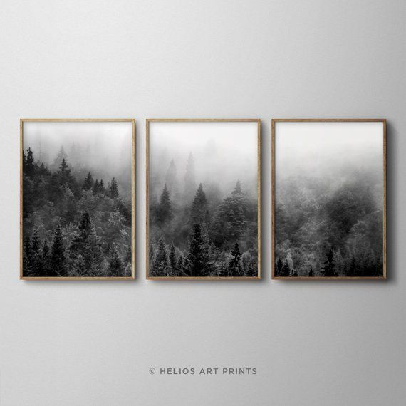 Set Of Three Black And White Misty Forest Landscape Art Etsy Forest Wall Art Landscape Art Prints Forest Landscape