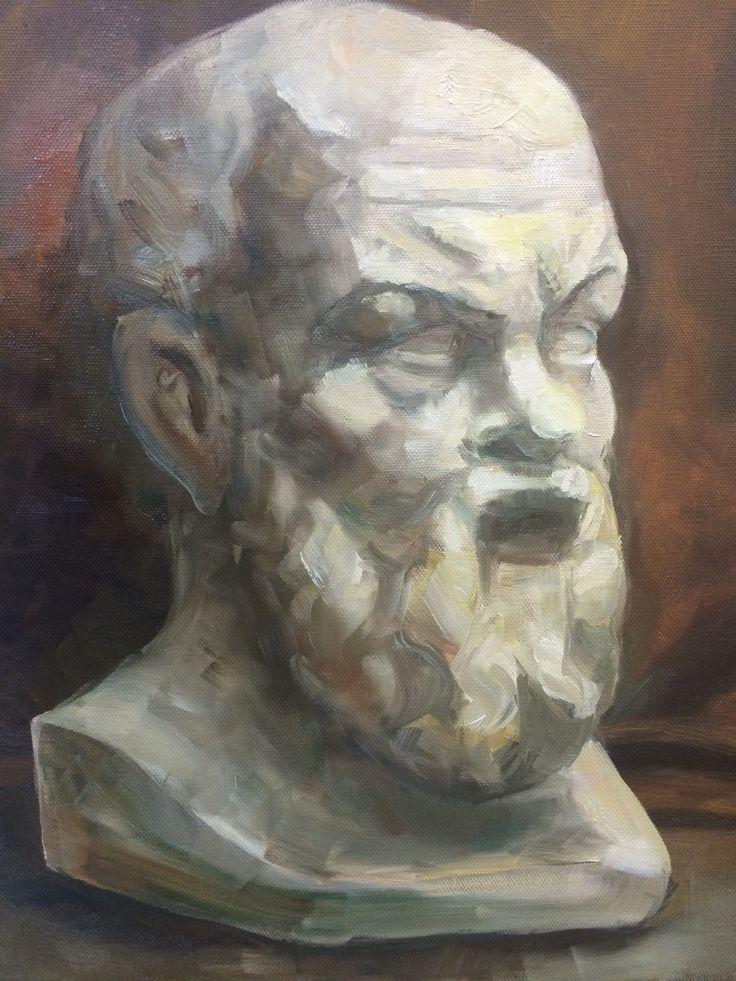 Гипсовая голова Сократ (холст, масло, 40х50) 2014