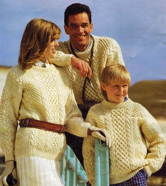 Keep the tradition alive with these cozy vintage patterns from 1987. Originally published in England as part of the Outdoor Arans collection. Patterns use Patons yarn.  Includes instructions to make: - two different styles of sweater for men (crew neck and v-neck, as pictured) in a range of sizes - crew-neck sweaters for the whole family, perfectly sized for everyone - hats, mittens and scarves for the entire family  Includes General Instructions and notes for reference.  Files are in PDF…
