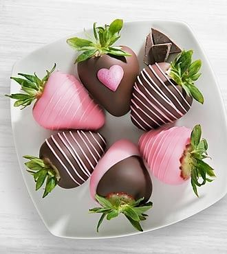 Chocolate covered strawberries - Have you ever seen such beautiful strawberries?  Love, love, love the heart design!  Choose 6 or 12...a delicious gift for any woman!