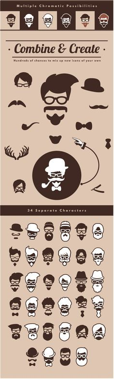 hipster logo, vector, beard, create, design