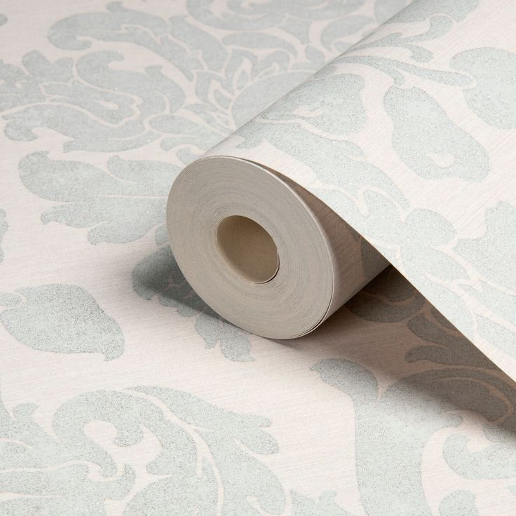 Kensington Cream Pearl Blue Damask Wallpaper