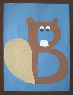 """""""B"""" is for Brown, Blue, Beaver! Add a maple leaf in there and you have a great little educational activity for your preschooler."""