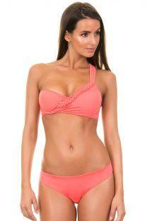 Coral Brazilian bikini with asymmetric plaited top - MACUIRA CORAL