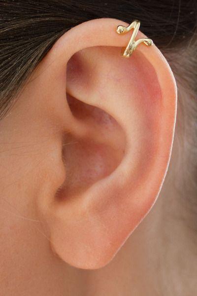 Vergoldete Ohrringe - Ohrring ohne Loch Silber vergoldet Herzschlag 101G - ein Designerstück von Appelstyle bei DaWanda