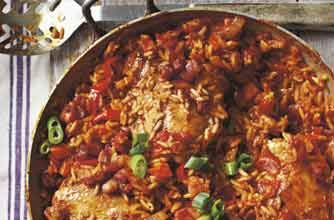 Chicken Jambalaya: A recipe revived from an 1984 issue of Woman's Weekly. This chicken can be cooked in a casserole or paella pan. A great tasty and spicy one-pot meal for the whole family