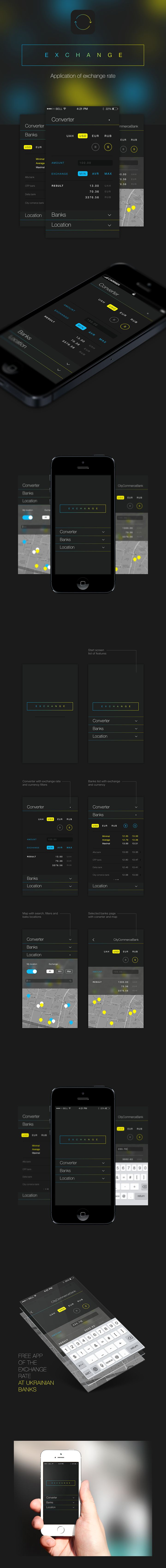 eXCHANGE - Free iOS app of the exchange rate at Ukrainian banks by Irene Shkarovska #gui #ui #ux