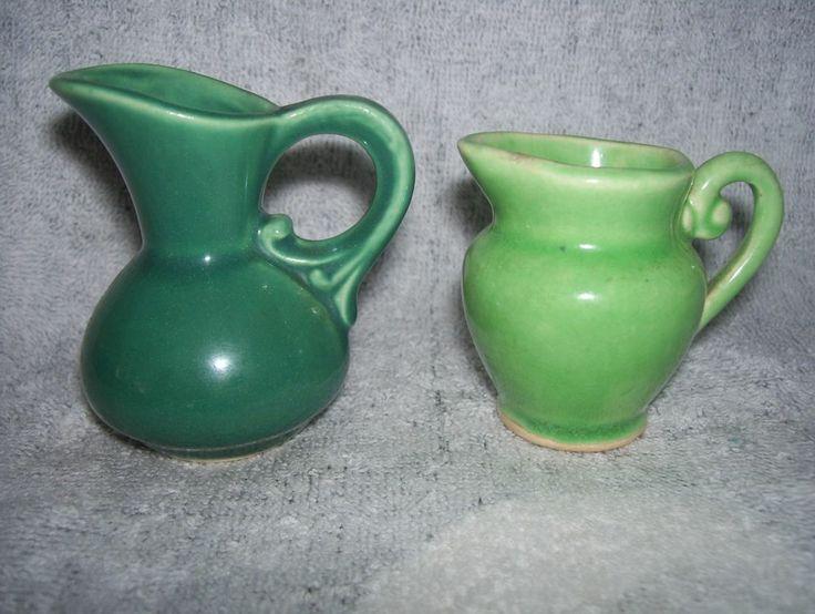 2 Vintage Decorative Miniature Pottery Pitchers Teal Green