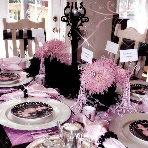 lilac and black table setting rubys birthday