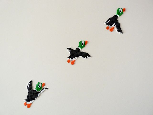 ducks by Eskimimi, via Flickr ~ I absolutely adore these because they reference a great NES game - Duck Hunt!!
