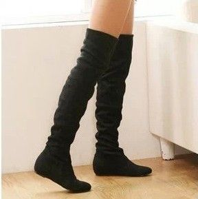 New arrival 2014 ladies fashion flat bottom boots for women autumn winter over the knee high leg suede boots low heels brand US $26.99 - 29.99