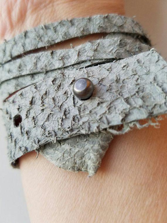 Verstelbare Armband leder van de huid van de vis door FiskeByInger