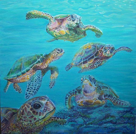 Le tartarughe marine tartarughe dipinti  dipinto di Stellangelo