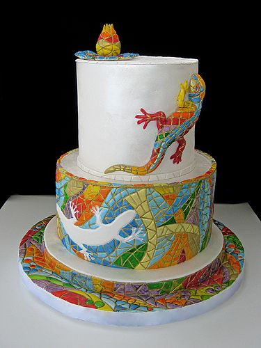 Rainbow mosaic lizard cake