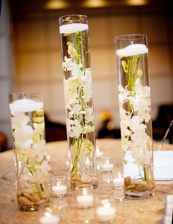 Diy Vase Arrangement Ideas For Lazy Decorators Suspend Flowers In Water And Float A Tea Light