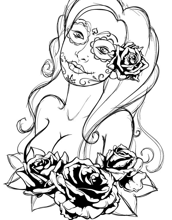 Create a Tattoo Style, Grunge, Day of Dead Girl Poster in ...