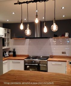 Pendant Cluster Lighting - Custom made to order - Hand crafted with fabric covered wire in either round or vintage twisted style - Any Cord Lengths - Even or Staggered (measured from ceiling to bulb t