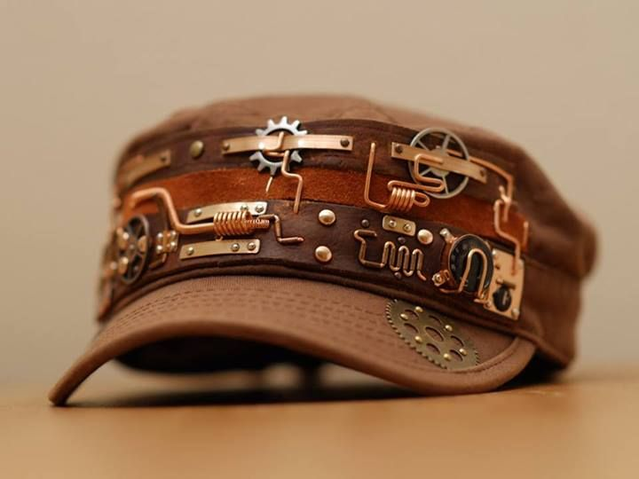 Steampunk hat V4 by yukosteel - DIY inspiration: Embellish a plain cap with leather strips, wire, gears, & rivets. Great for everyday steampunk wear!