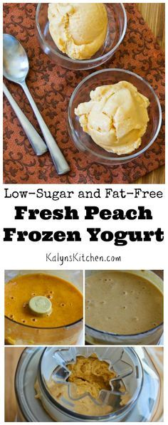 Low-Sugar and Fat-Free Fresh Peach Frozen Yogurt [from KalynsKitchen.com]