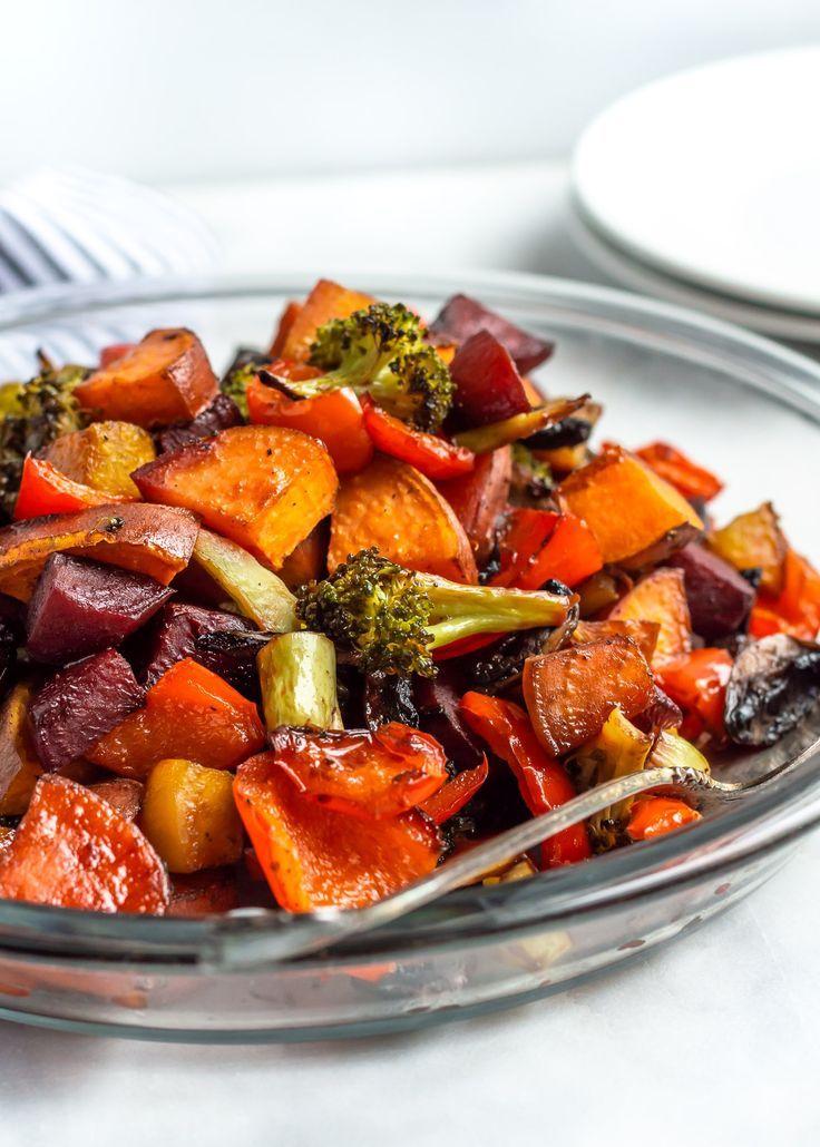Balsamic Honey Roasted Vegetables Always Nourished Recipe Roasted Vegetable Recipes Vegetable Dinners Roasted Vegetables Balsamic