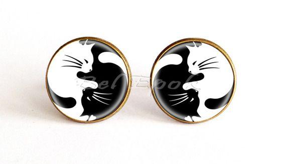 boutons de manchette chats noir et blanc - bijou Zen pour homme