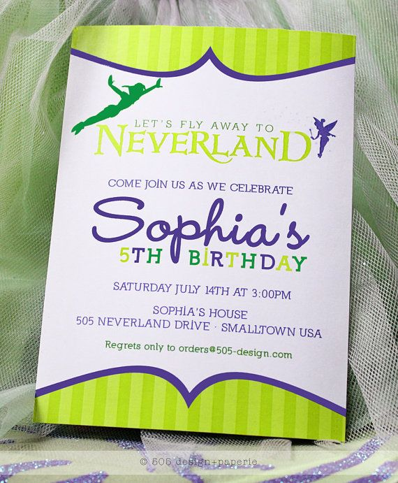 Neverland Invitation  Peter Pan Tinkerbell Inspired by 505design, $13.50