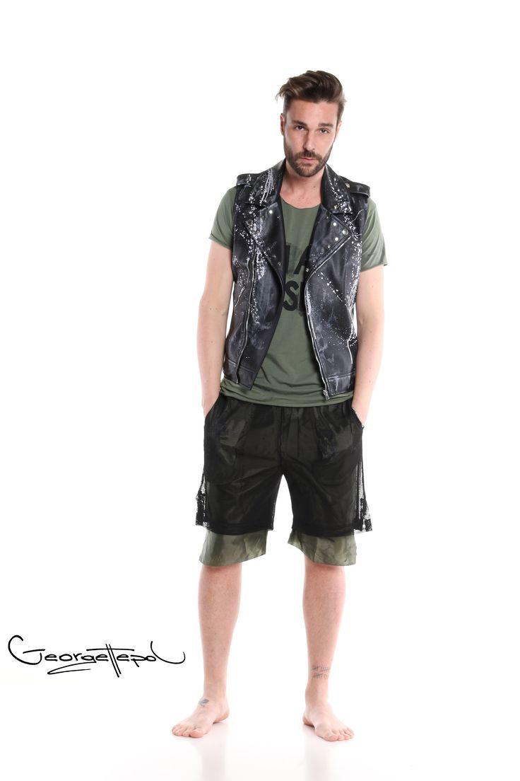 Sleeveless leather jacket - Military green t-shirt - Bermuda basket black and green #bermuda #leather #fashion #man #painted #summer #jacket #black #iammyself #tshirt #military #black #style #georgettepol