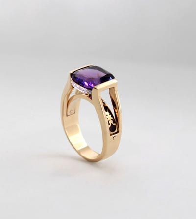 Gold, diamonds, amethyst & enamel ring. Geoff Mitchell.