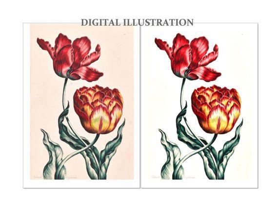 Flower Clip art Antique Flower Digital Antique by BiSew on Etsy
