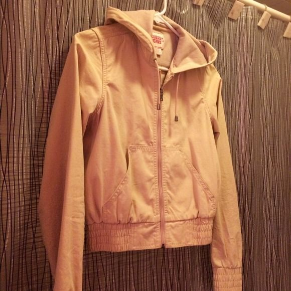 Guess- Hooded Khaki Bomber Style Jacket Perfect Condition. Worn Once. Hood lined with jersey. Guess Jackets & Coats Utility Jackets