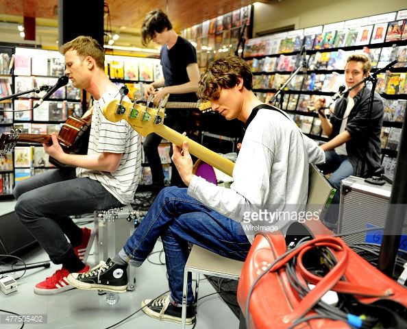Felix Bushe, John Victor, Hugh Schulte and Danny Ward of Gengahr perform instore, meet fans and sign copies of their new album 'A Dream Outside' at Fopp on June 17, 2015 in Manchester, England.