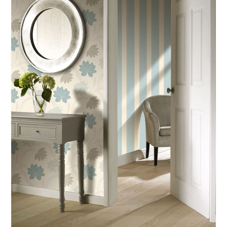 Grandeco Gabe Stripe Teal Wallpaper at Homebase.co.uk