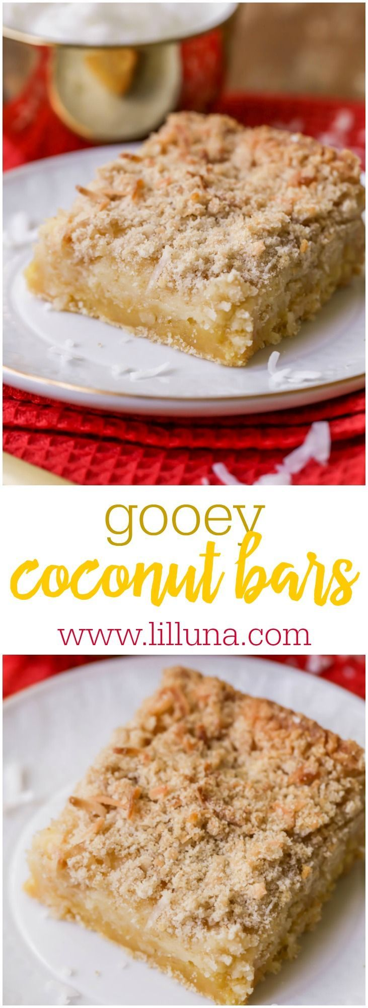 Gooey Coconut Butter Bars - a soft, delicious treat with creamy layers of cake and cream cheese and just the right amount of coconut.